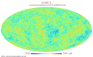 Joint reconstruction from WMAP9 and Planck PR1 data with LGMCA
