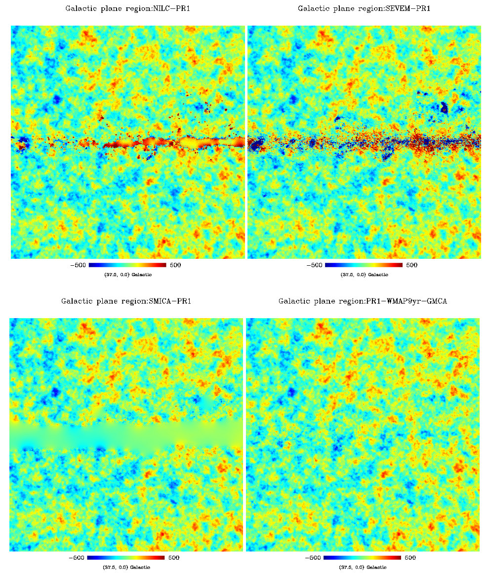 Galactic center region, centered at (l,b)=(37.7,0). Top, PR1 NILC and SEVEM CMB maps, and bottom, PR1 SMICA and WPR1 LGMCA CMB maps.