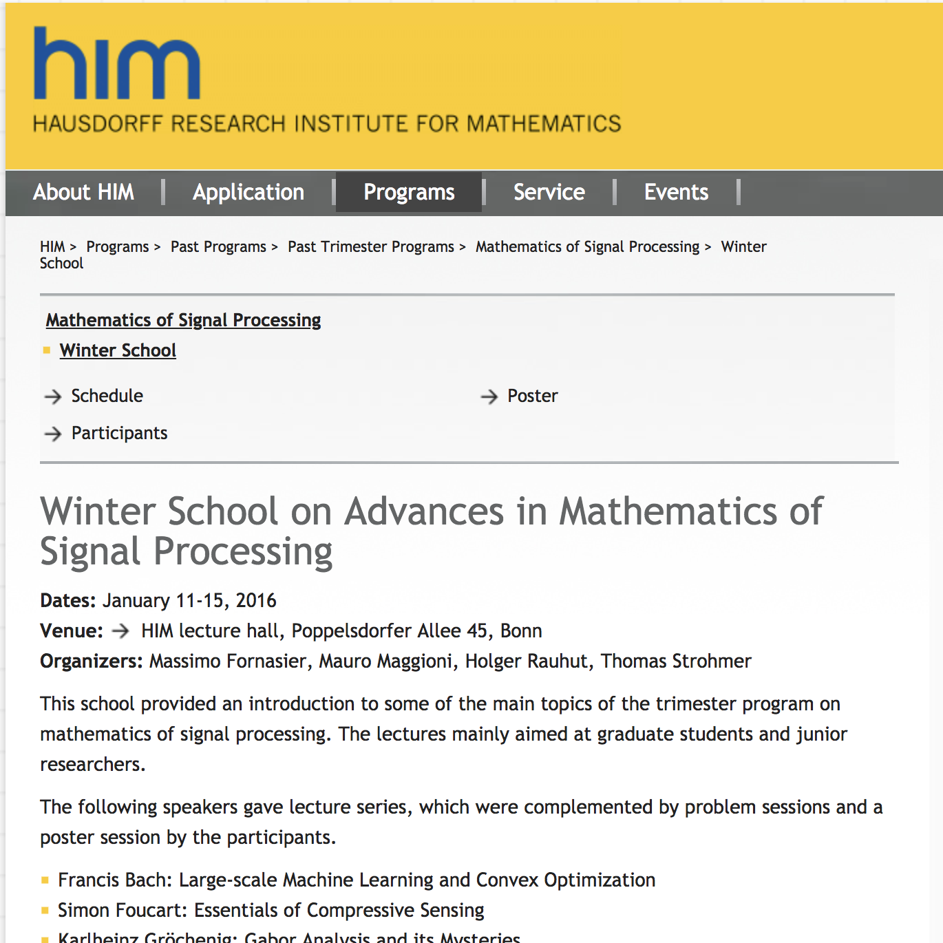 Winter School on Advances in Mathematics of Signal Processing
