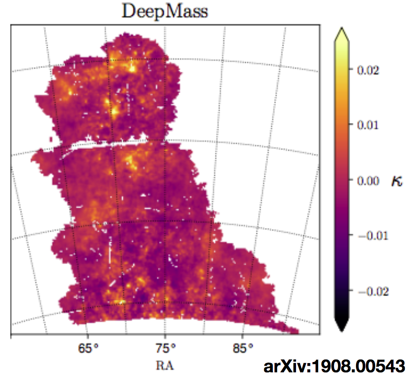 The first Deep Learning reconstruction of dark matter maps from weak lensing observational data